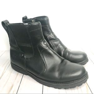 Timberland Black Leather Zip Ankle Boots Youth 5